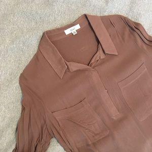 Tops - Brown Semi-Sheer Tunic Shirt